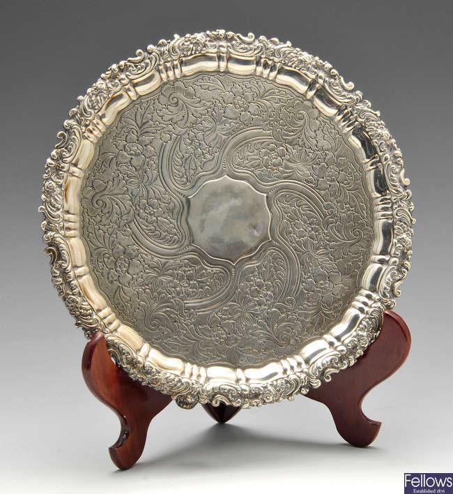 A George IV silver salver.