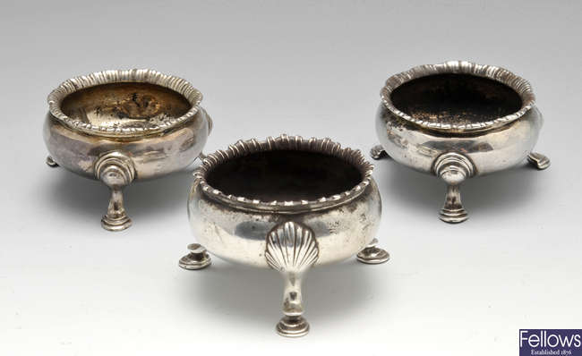 A George II open silver salt, plus another similar pair.