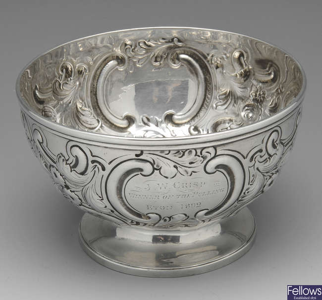 A late Victorian silver footed bowl.