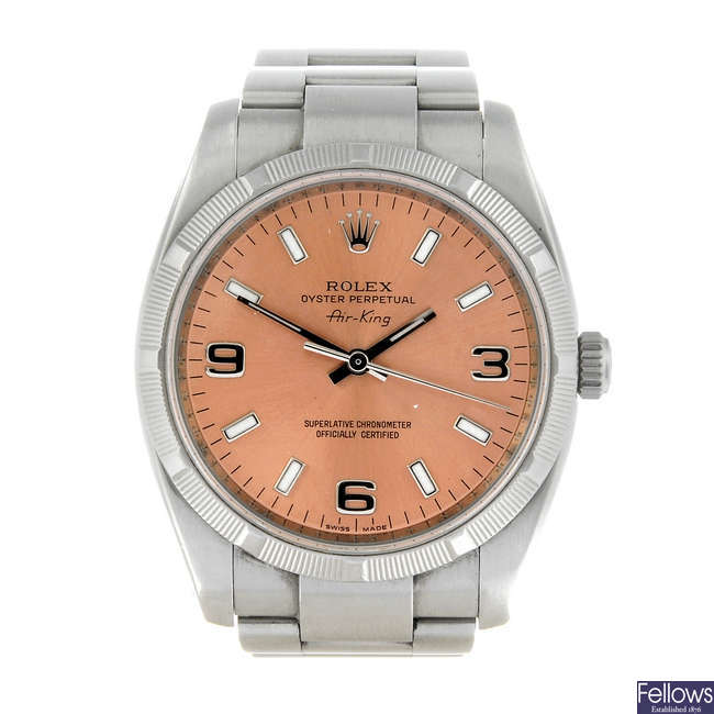 (3493-3-A) ROLEX - a gentleman's stainless steel Oyster Perpetual Air King bracelet watch.