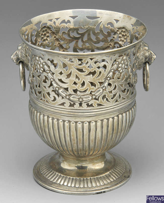 An early George III silver vase.