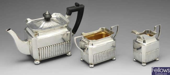 A Victorian silver bachelor tea service.