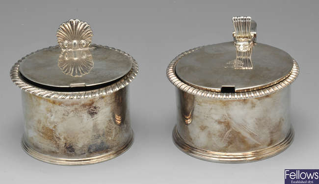 Two similar George IV silver mustard pots.