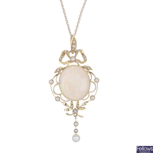 An early 20th century 15ct gold opal, diamond and split pearl pendant.