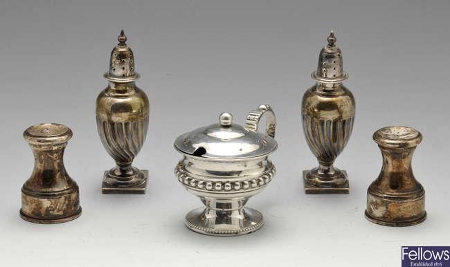 A selection of Victorian and later silver condiments.