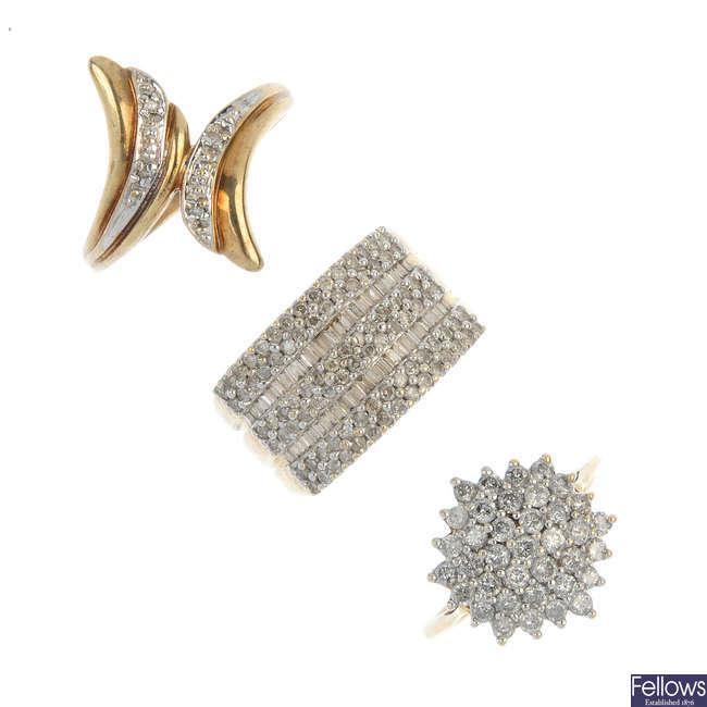 A selection of three diamond dress rings.