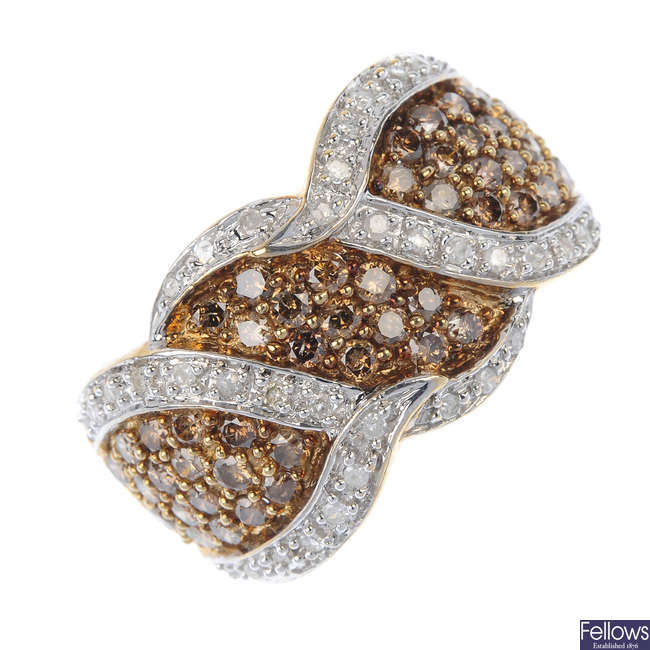 A 9ct gold 'brown' diamond and diamond ring.