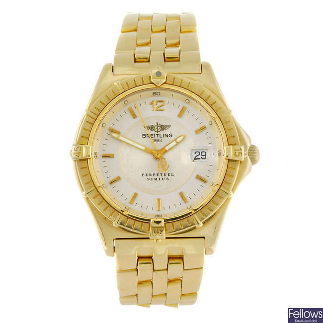 BREITLING - a gentleman's 18ct yellow gold Perpetual Sirius bracelet watch.