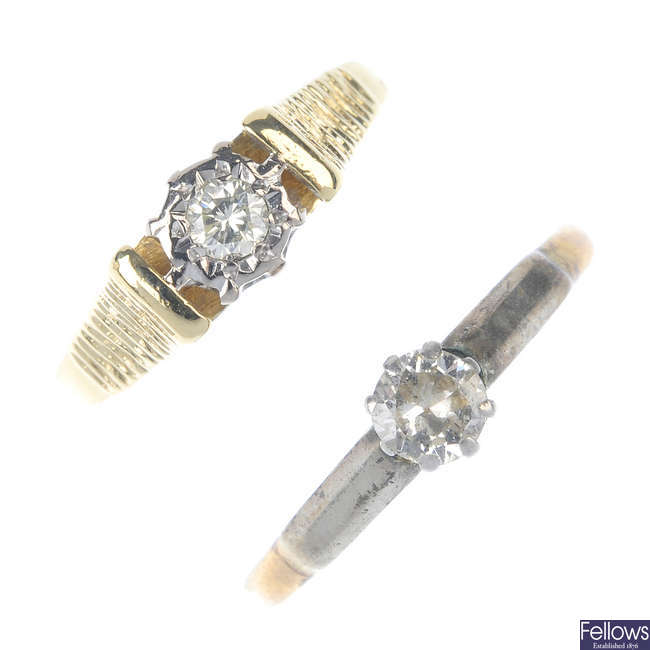 Two early to mid 20th century 18ct gold diamond single-stone rings.