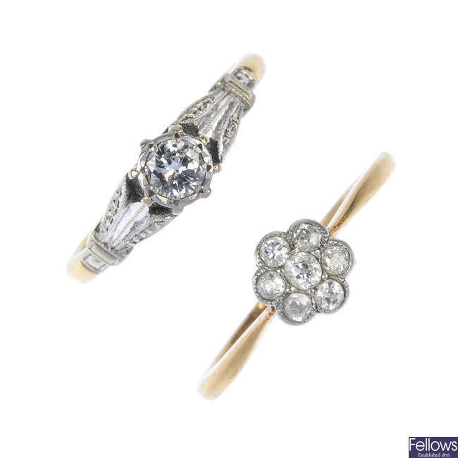 Two early to mid 20th century 18ct gold diamond rings.