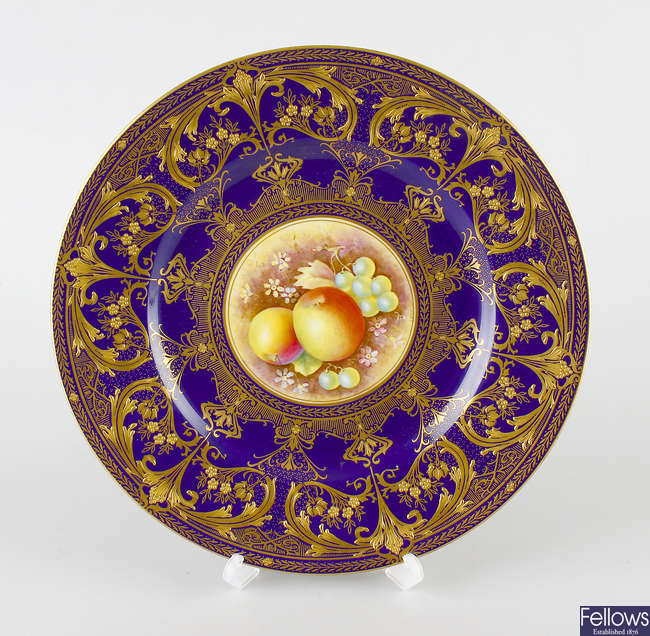 A hand painted Royal Worcester porcelain plate.