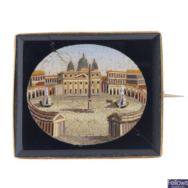 A late 19th century micro mosaic brooch.