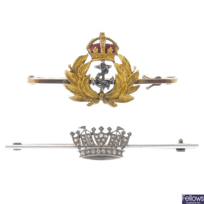 Two naval crown brooches.