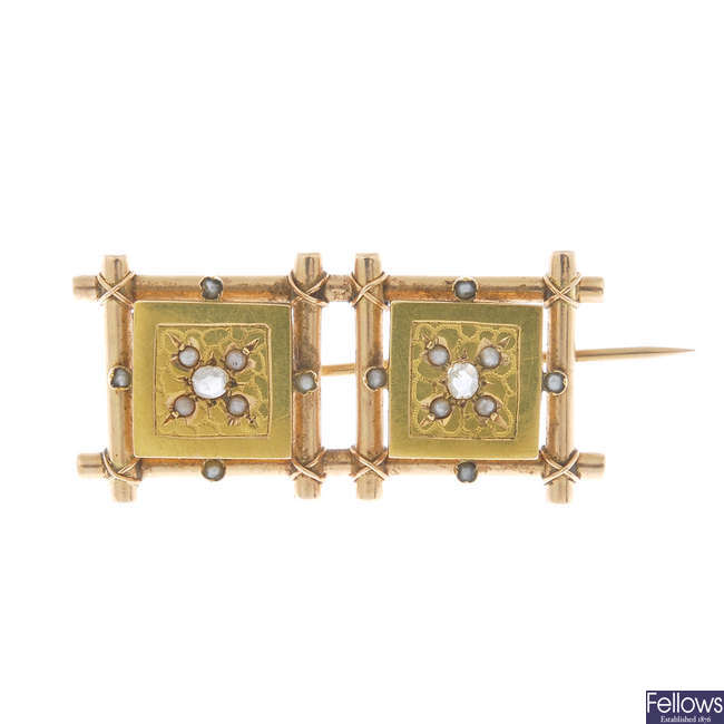 A late 19th century Aesthetic movement gold, diamond and split pearl brooch.