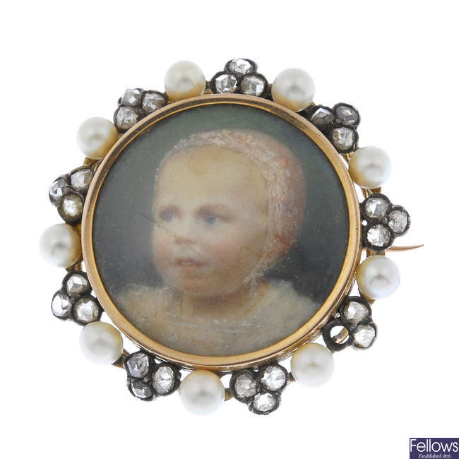 An early 20th century 18ct gold diamond and seed pearl portrait brooch.