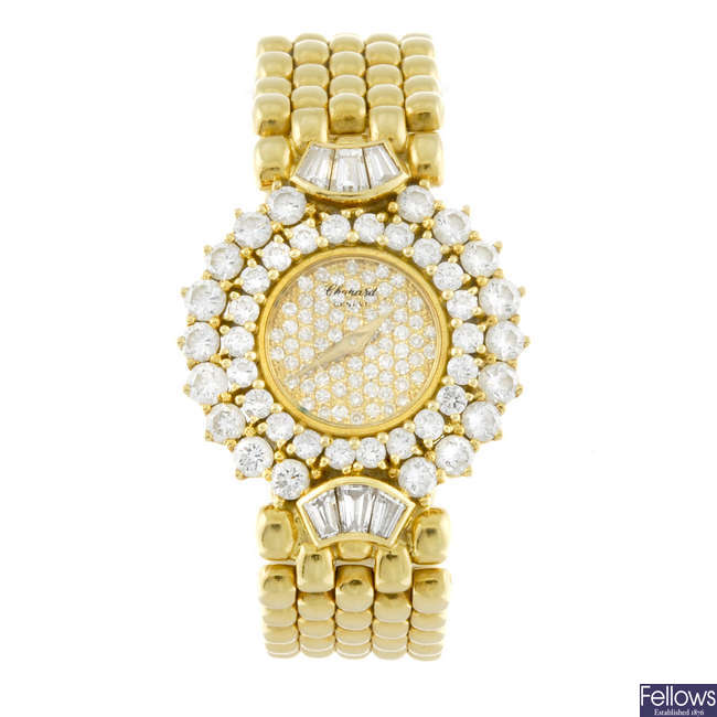 CHOPARD - a lady's 18ct yellow gold bracelet watch.