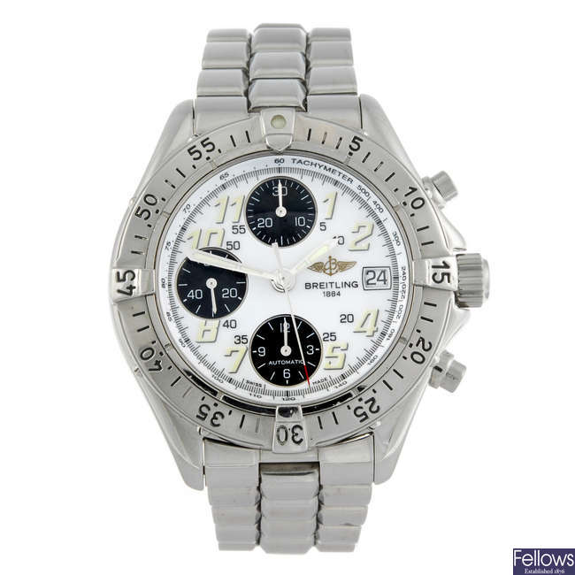 BREITLING - a gentleman's stainless steel Aeromarine Colt chronograph bracelet watch.