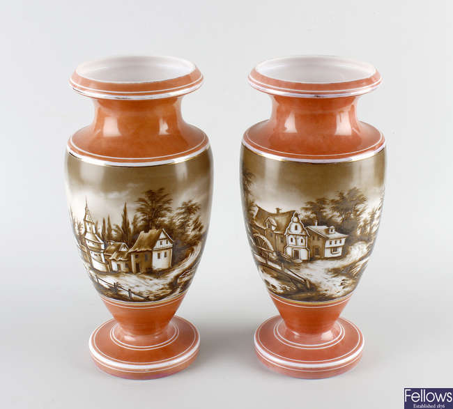A pair of late 19th century opaque glass vases.