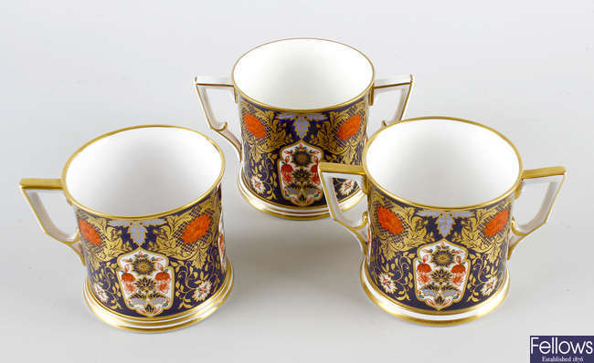 Two Hamilton Derby porcelain mugs, plus another.