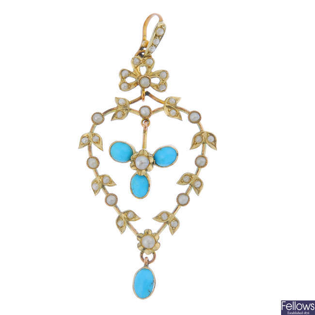 An early 20th century 9ct gold turquoise and split pearl pendant.
