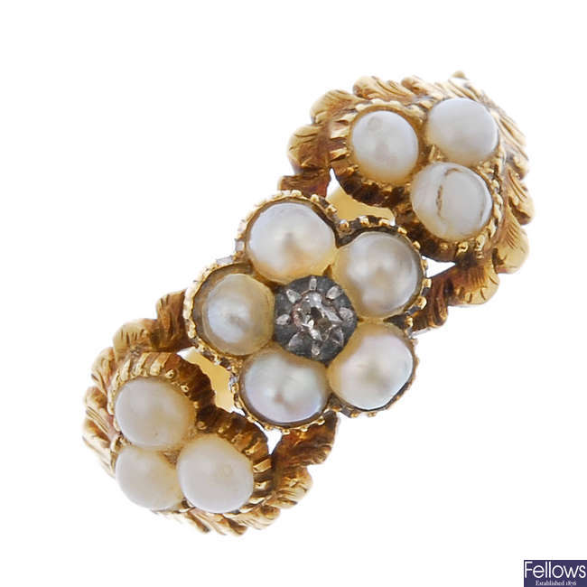 An 18ct mid Victorian gold seed pearl and diamond memorial ring.