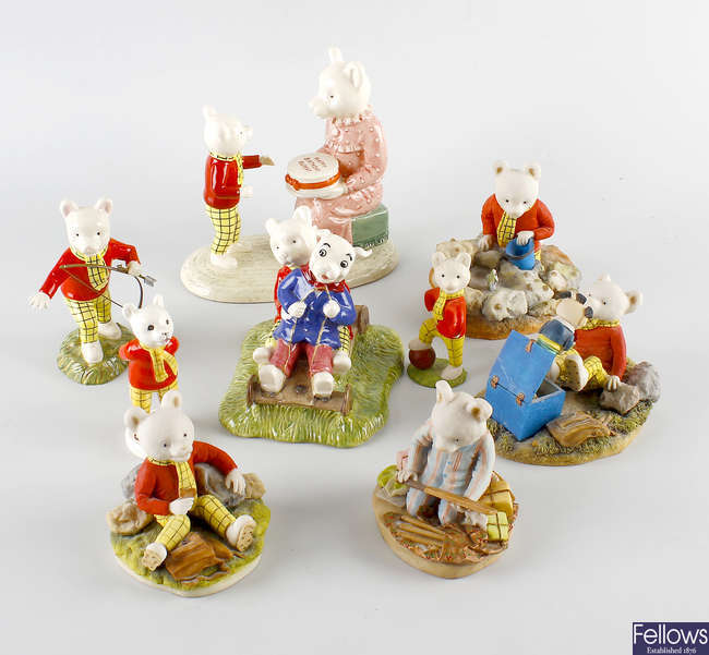 Three Beswick Rupert Bear figures