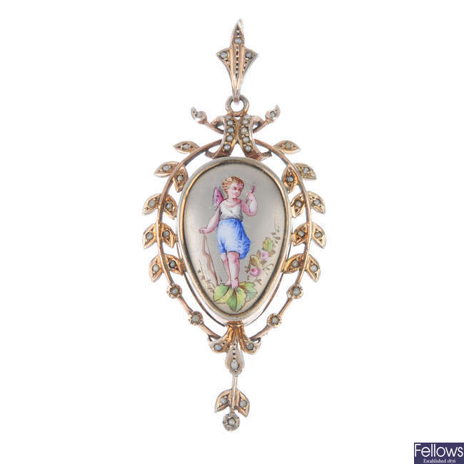 A late 19th century gold seed pearl picture locket/pendant.