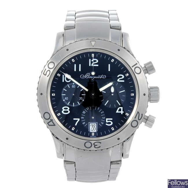 BREGUET - a gentleman's stainless steel Type XX Transatlantique chronograph bracelet watch.