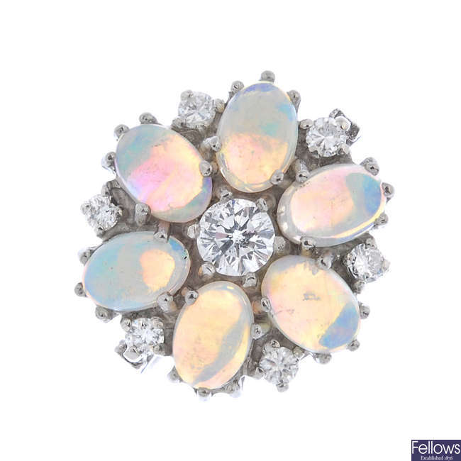 An 18ct gold opal and diamond floral cluster ring.