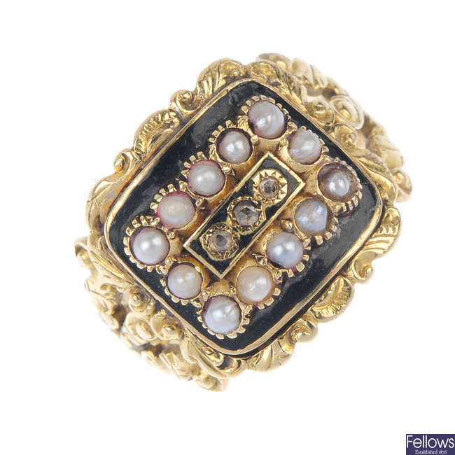 A George IV 18ct gold enamel diamond and seed pearl memorial ring.