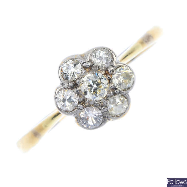 A mid 20th century gold and platinum diamond floral cluster ring.