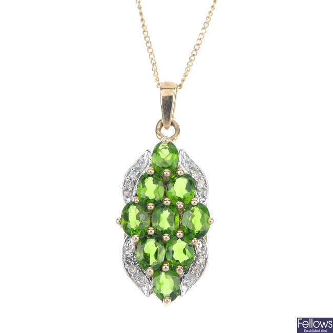 A 9ct gold diopside and diamond pendant.