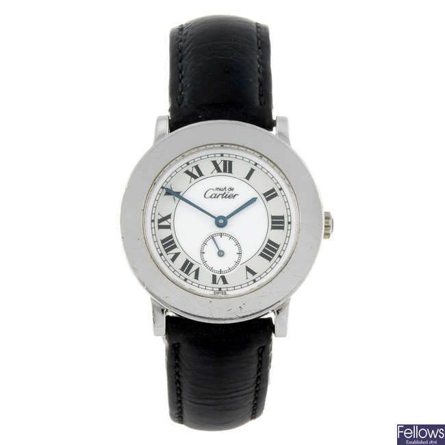 CARTIER - a silver Ronde Solo wrist watch.