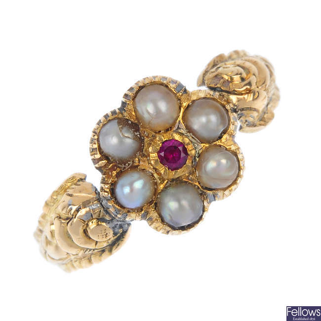A Georgian 18ct gold ruby and split pearl cluster ring.