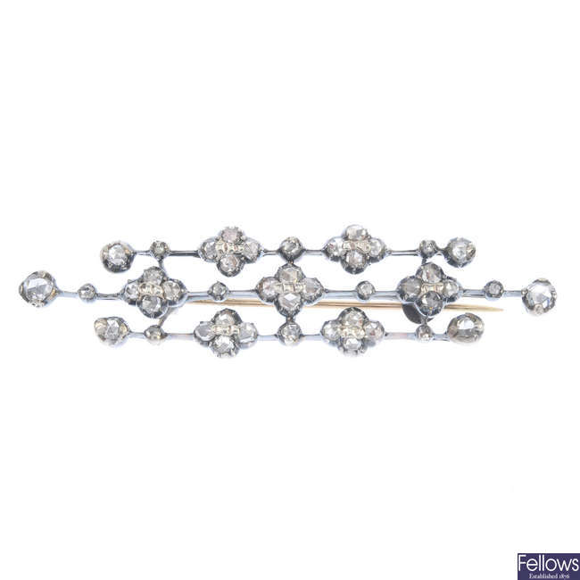 A late 19th century silver and gold diamond brooch.