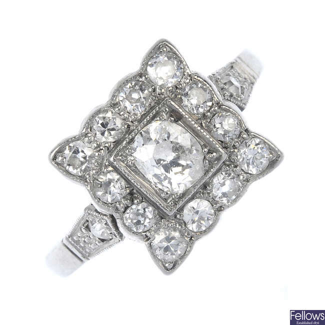 An early 20th century platinum diamond cluster ring.