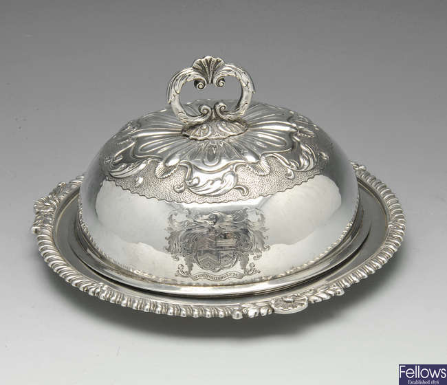 A George III silver muffin dish & cover, London 1817