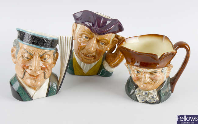 A group of five large Royal Doulton character jugs, etc.