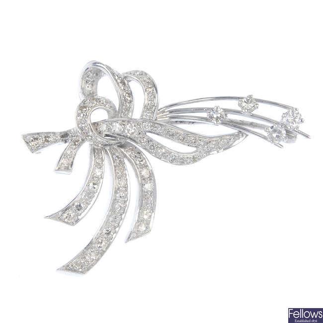 A diamond spray brooch.