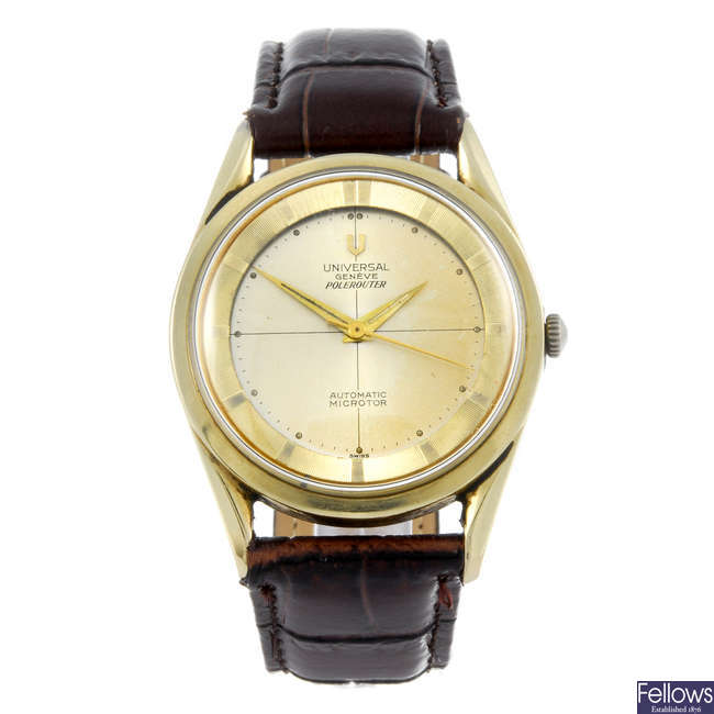 UNIVERSAL GENEVE - a gentleman's gold plated Polerouter wrist watch.