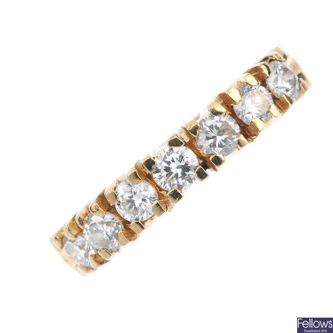 A diamond seven-stone ring.