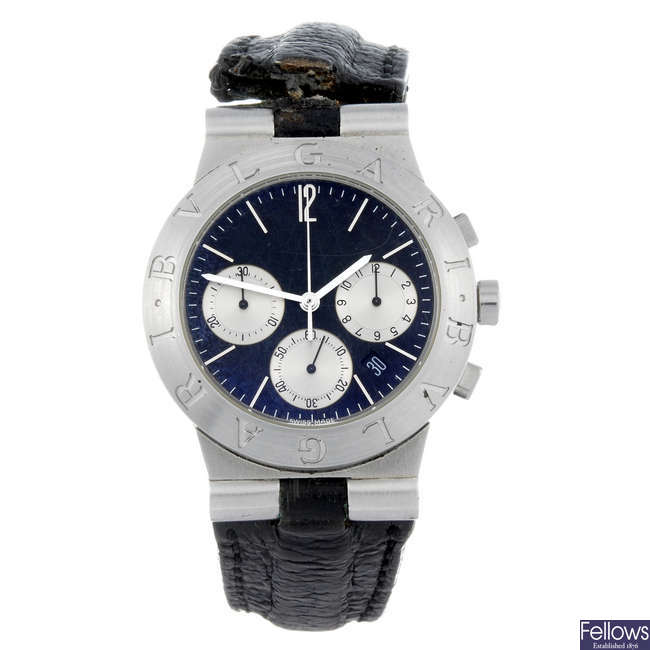 BULGARI - a gentleman's stainless steel chronograph wrist watch.