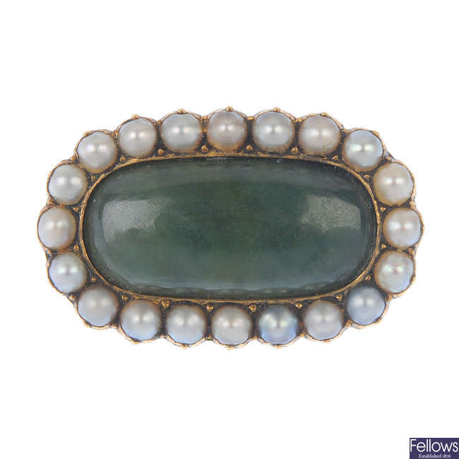 A late 19th century 15ct gold jade and split pearl cluster brooch.