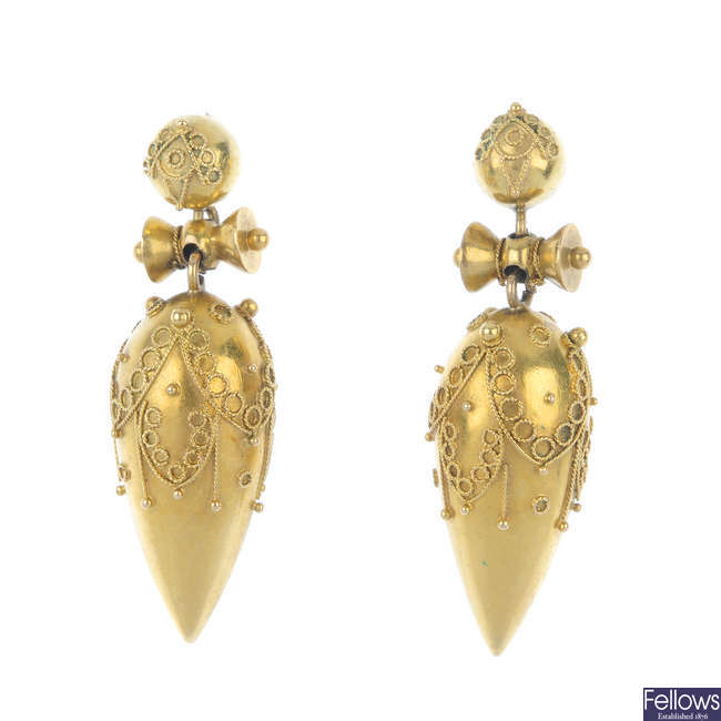 A pair of late Victorian gold ear pendants.