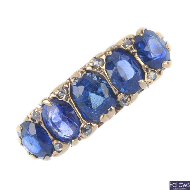 A mid 20th century gold sapphire, synthetic sapphire and diamond dress ring.