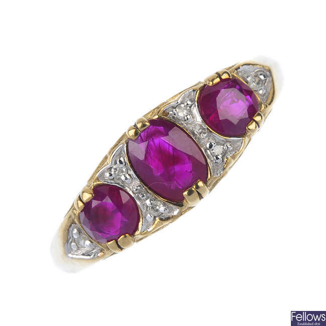 A 9ct gold ruby and diamond dress ring.