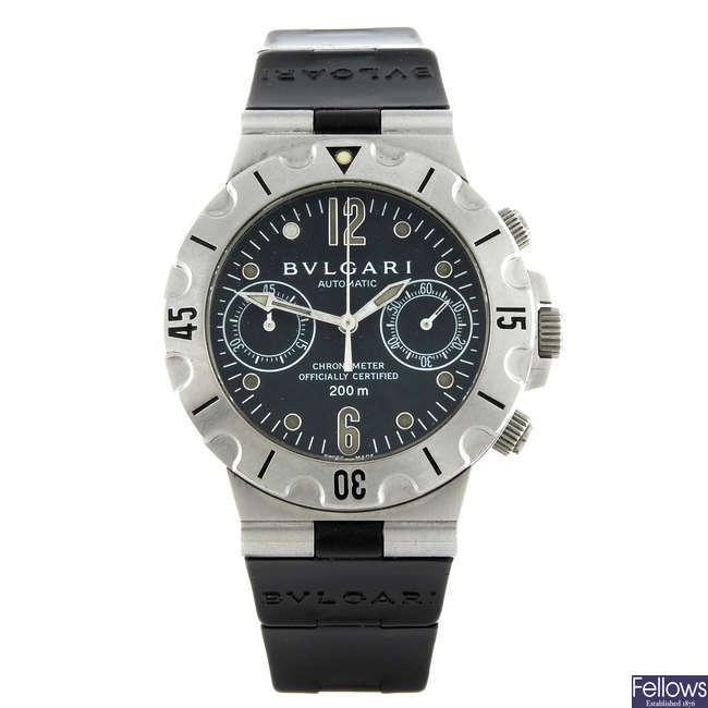 BULGARI - a gentleman's stainless steel Scuba Chronograph chronograph wrist watch.