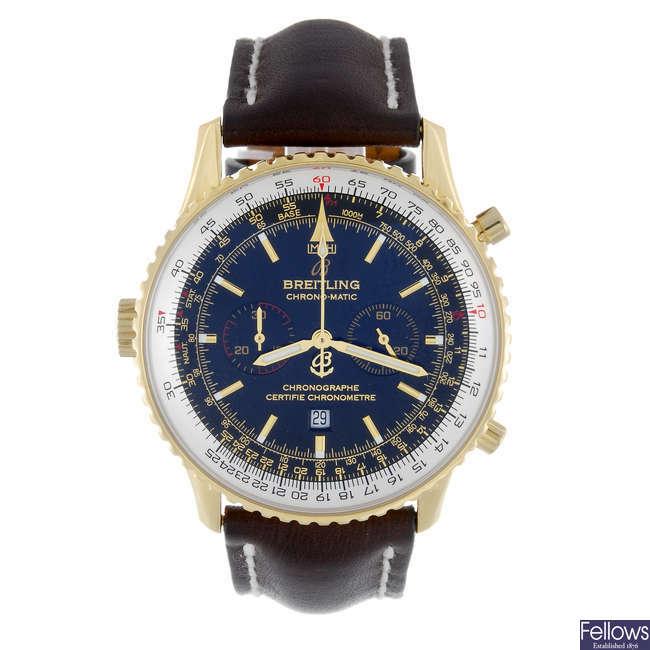 BREITLING - a gentleman's 18ct yellow gold Navitimer Chronomatic chronograph wrist watch.