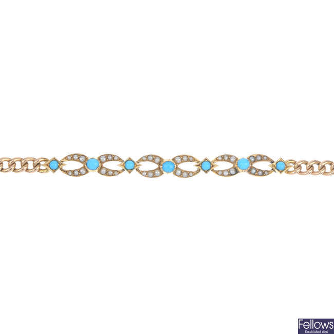 An early 20th century 15ct gold split pearl and gem-set bracelet.