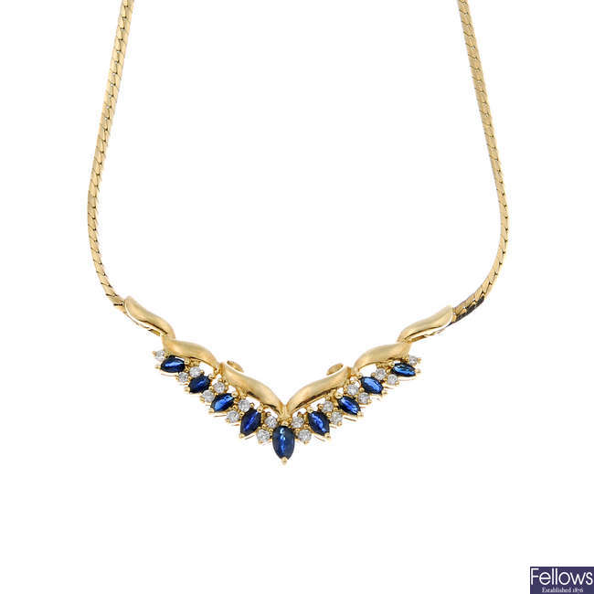 A 9ct gold sapphire and diamond necklace.